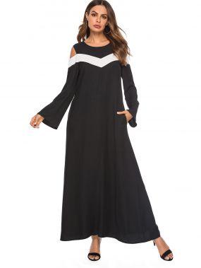 Длинное платье с карманом и открытыми плечами