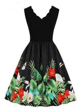 50s платье с верообразной отделкой и цветочным принтом