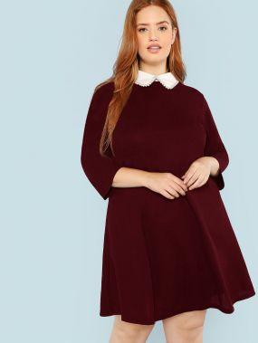 Платье с жемчугами с контрастным вырезом размера плюс