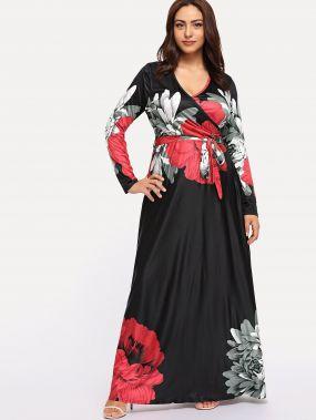 Плюс размеры с цветочным принтом макси платья с запахом
