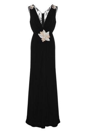 Бархатное платье-макси с кружевной спинкой Dolce & Gabbana
