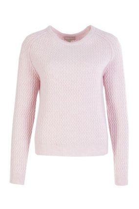 Розовый джемпер фактурной вязки