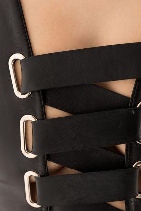 Бондажное черное платье мини