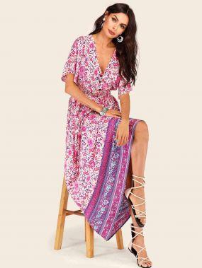 Цветочное платье с племенным принтом