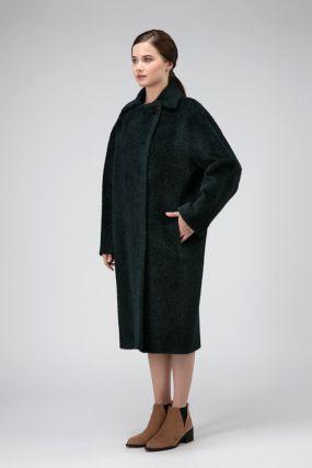 Длинное пальто из альпака для осени силуэта кокон