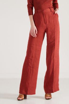 Широкие красные льняные брюки