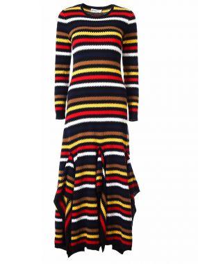 Кашемировое платье в полоску
