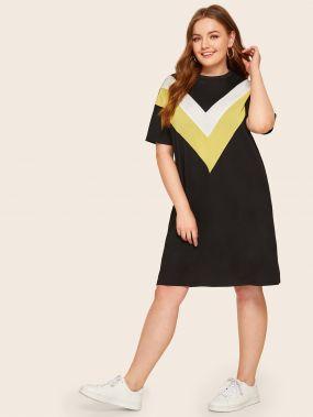 Платье с шевронным принтом размера плюс