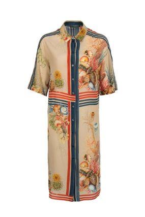 Платье-рубашка с полосками и принтом