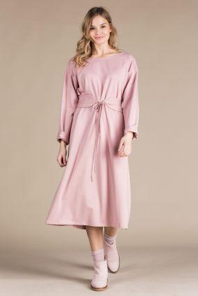 Платье-кардиган Черешня трикотажное с поясом пудрового цвета (40-46)
