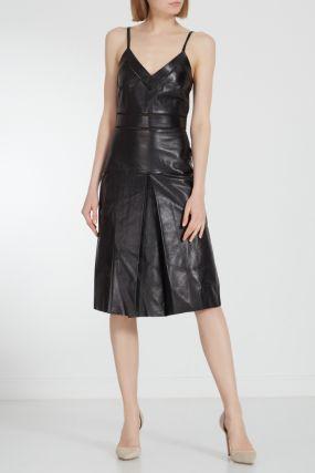 Черное кожаное мини-платье