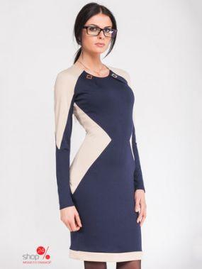 Платье Lavana Fashion, цвет синий, бежевый