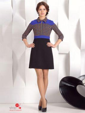 Платье OleGra, цвет черный, синий