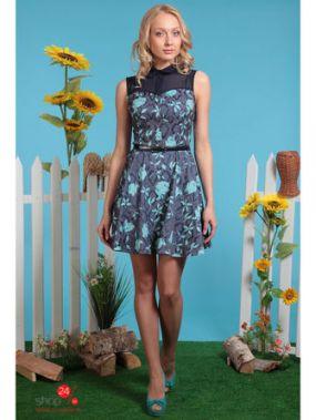 Платье OleGra, цвет темно-синий, голубой