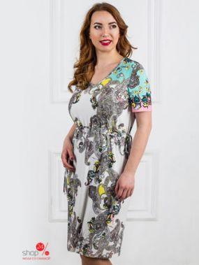 Платье Царевна, цвет белый, серый, бирюзовый