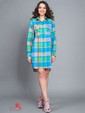 Платье BORODINA KSENIA, цвет зеленый, голубой