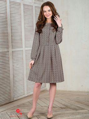 Платье ВИШНЯ, цвет бежевый, серый
