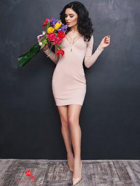 Платье Look At Fashion, цвет бежевый