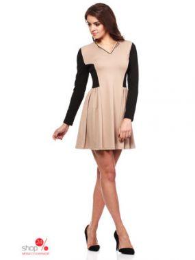 Платье MOE, цвет бежевый, черный