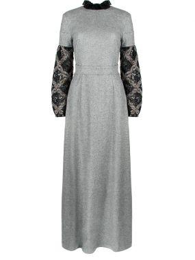 Шерстяное платье с отделкой