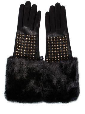 Перчатки с мехом и шипами