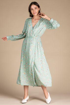 Платье-халат Черешня голубое с принтом