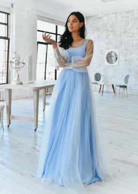 Нежно-голубое вечернее платье с длинными рукавами MR072B
