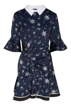 Темно-синее платье с белым воротником