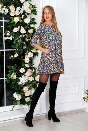 Платье трикотажное Лареина (сине-желтые цветы)