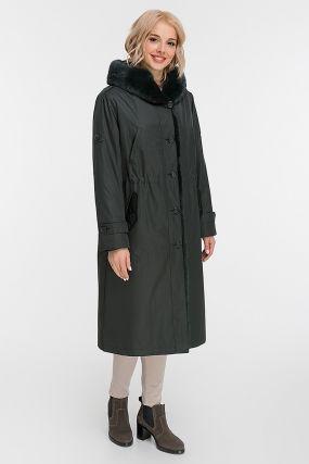 Зимнее стильное пальто на меху кролика с норкой