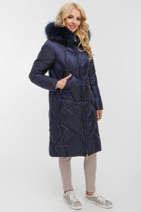 Женское прямое длинное пальто с мехом на капюшоне