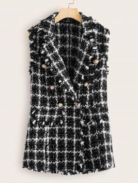 Двубортный твидовый пиджак-жилет