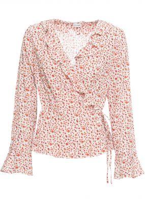 Блузка с запахом-обманкой в цветочек