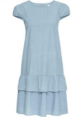 Джинсовое платье с воланом