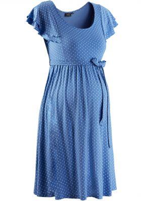 Праздничная мода для беременных: платье в горошек