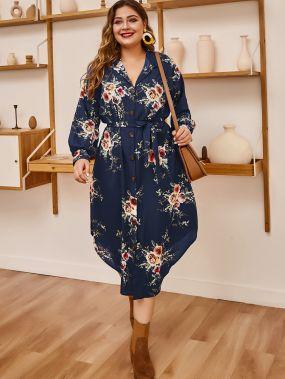 Цветочное платье-рубашка размера плюс с поясом