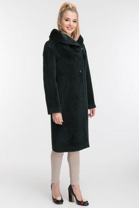 Длинное прямое пальто из альпака без меха