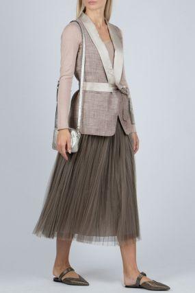 Пышная коричневая юбка-миди