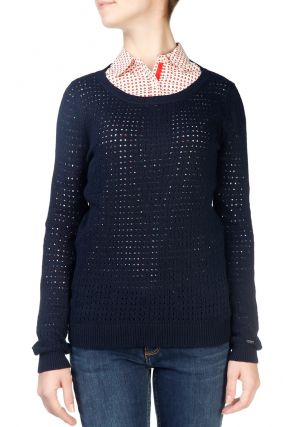 Темно-синий свитер ажурной вязки