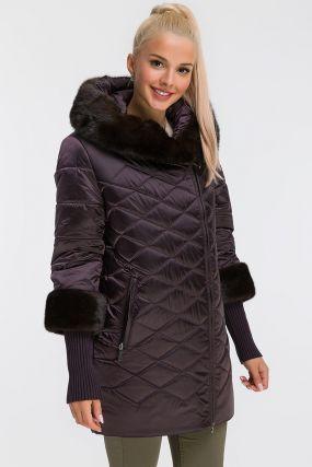 Женская длинная куртка на верблюжьей шерсти с норкой