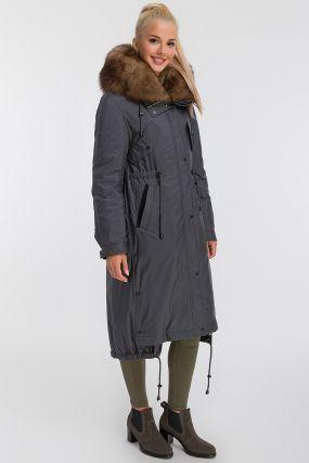 Длинное молодежное пальто на меху из Италии