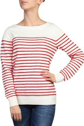 Белый джемпер в красную полоску