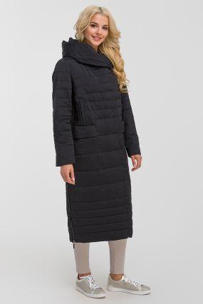 Длинное стеганое женское пальто осень-зима