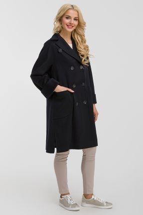 Двубортное шерстяное пальто средней длины