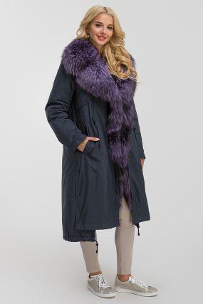Стильное женское пальто на меху чернобурки из Италии