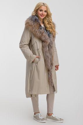 Длинное теплое пальто на меху для зимы