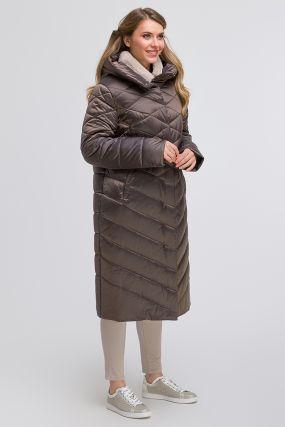 Женское длинное демисезонное пальто с мехом кролика