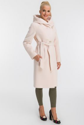 Женское пальто из альпака прямого кроя