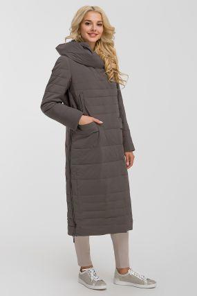 Длинное модное пальто с капюшоном
