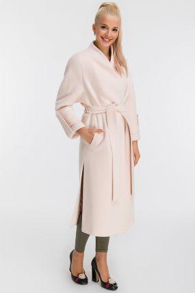 Длинное прямое пальто из альпака на запахе
